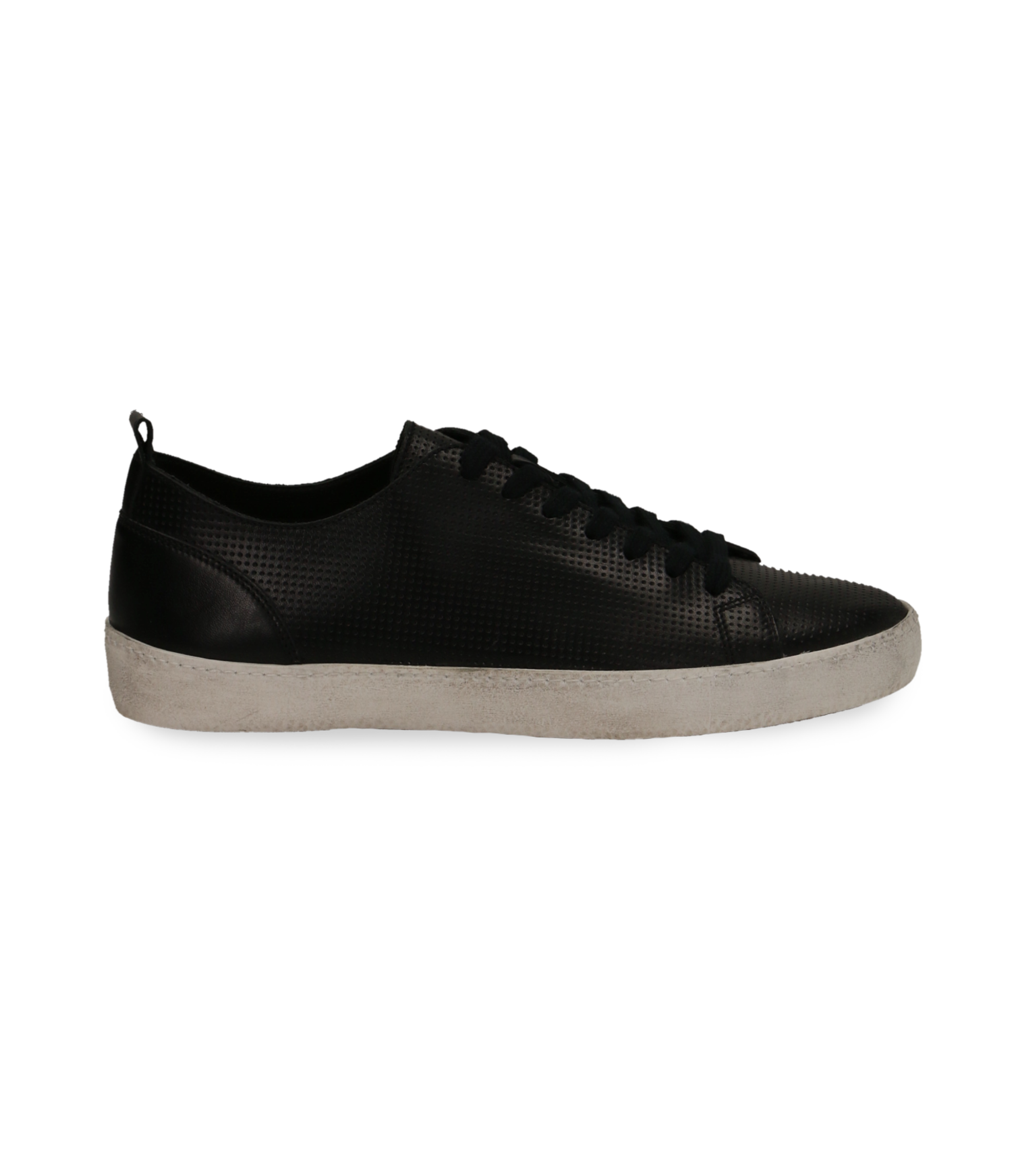 Sneakers nere in pelle con suola bianca