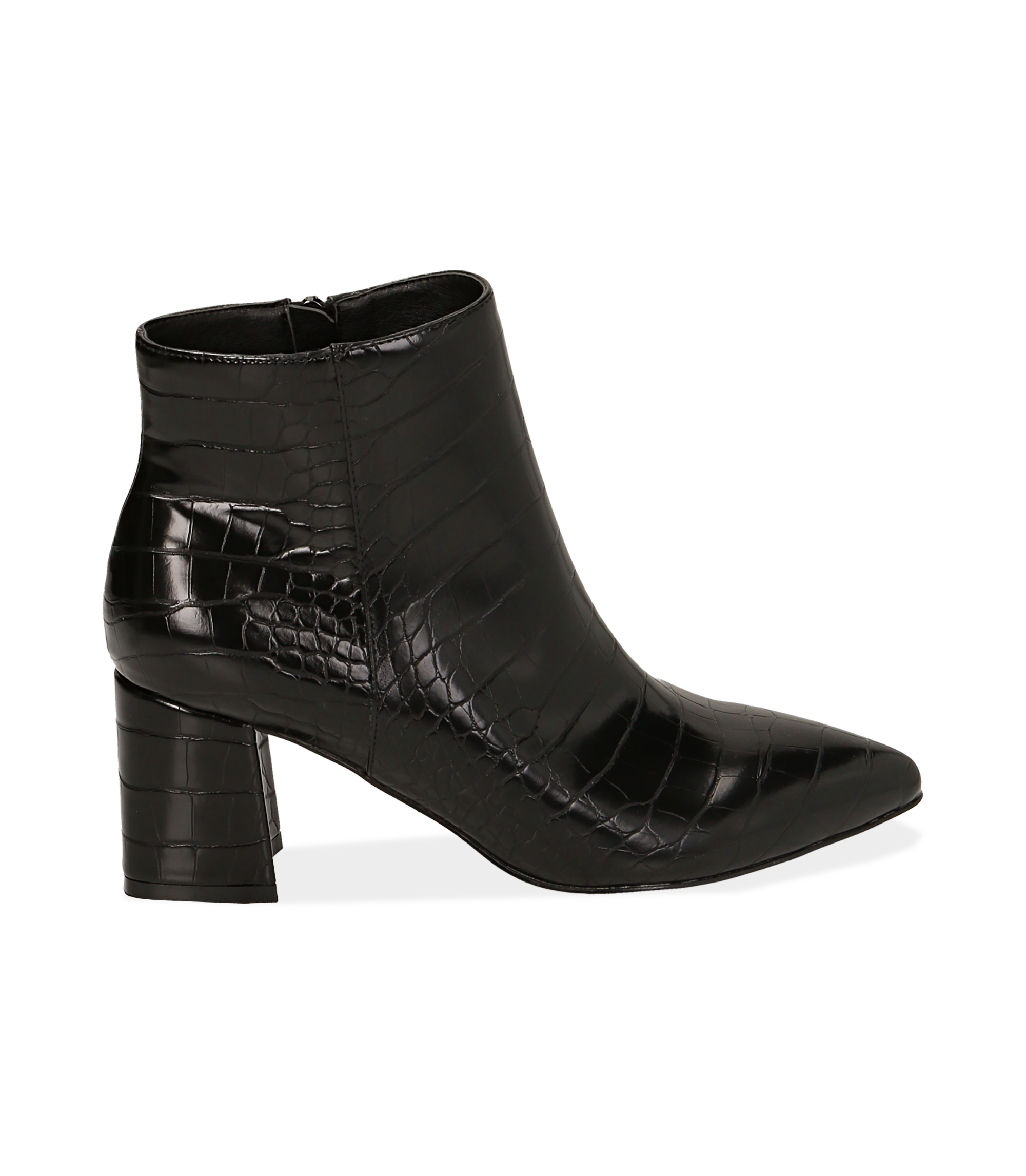 Ankle boots neri stampa cocco, tacco 6,50 cm