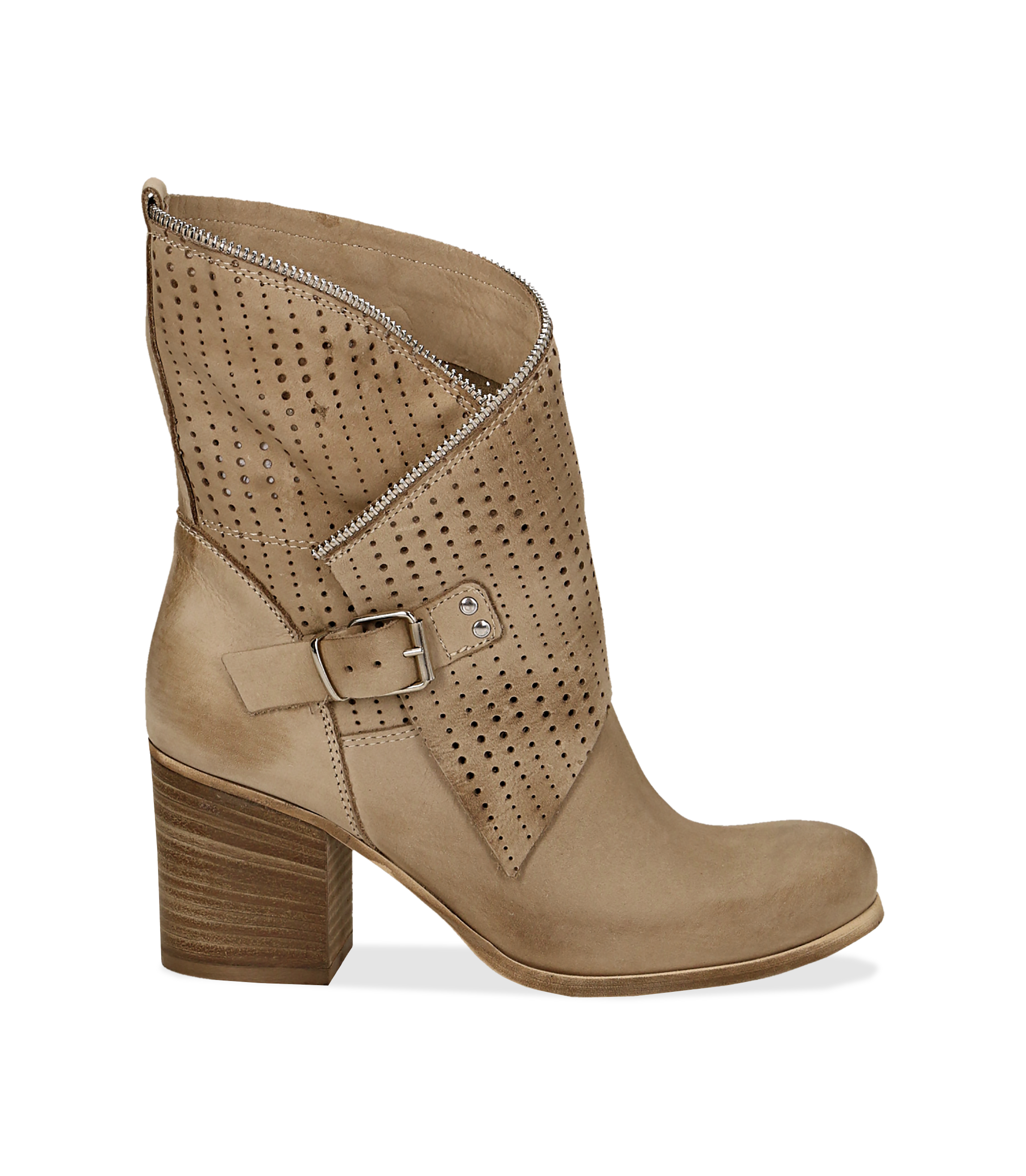 Ankle boots beige in nabuk con gambale traforato, tacco 7 cm