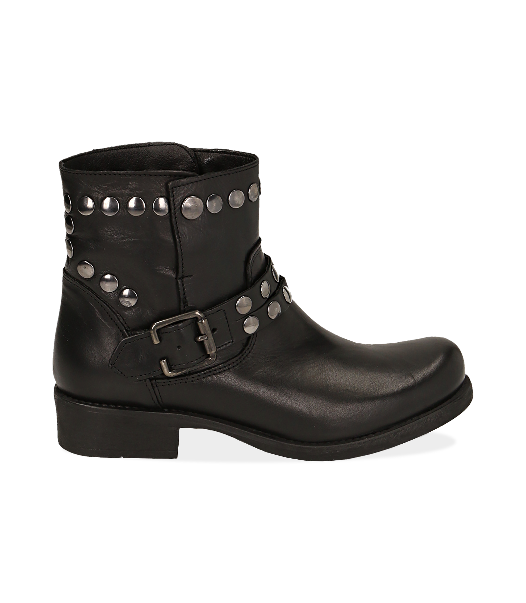 Biker boots borchiati neri in pelle di vitello
