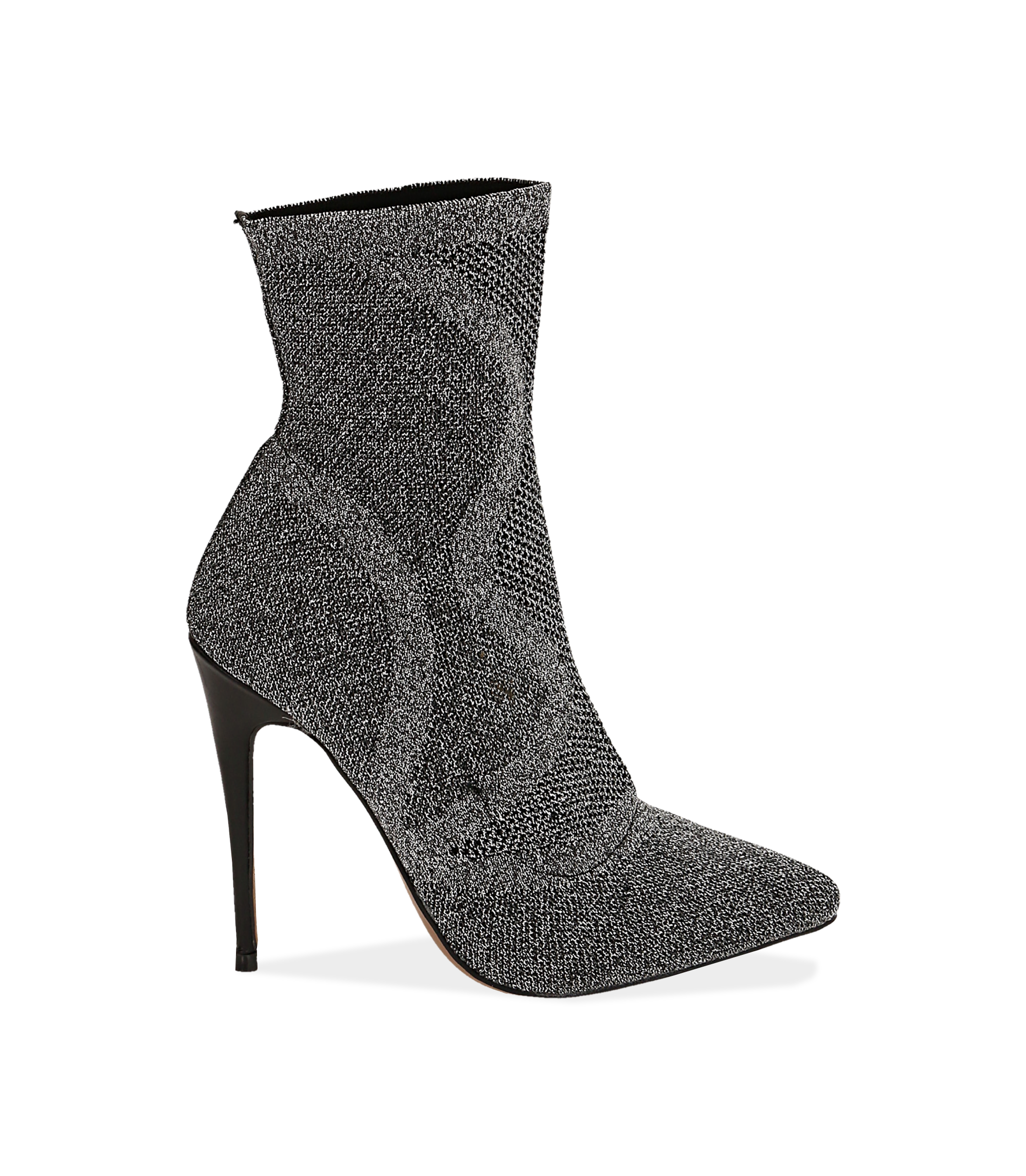 Ankle boots argento in tessuto elastico