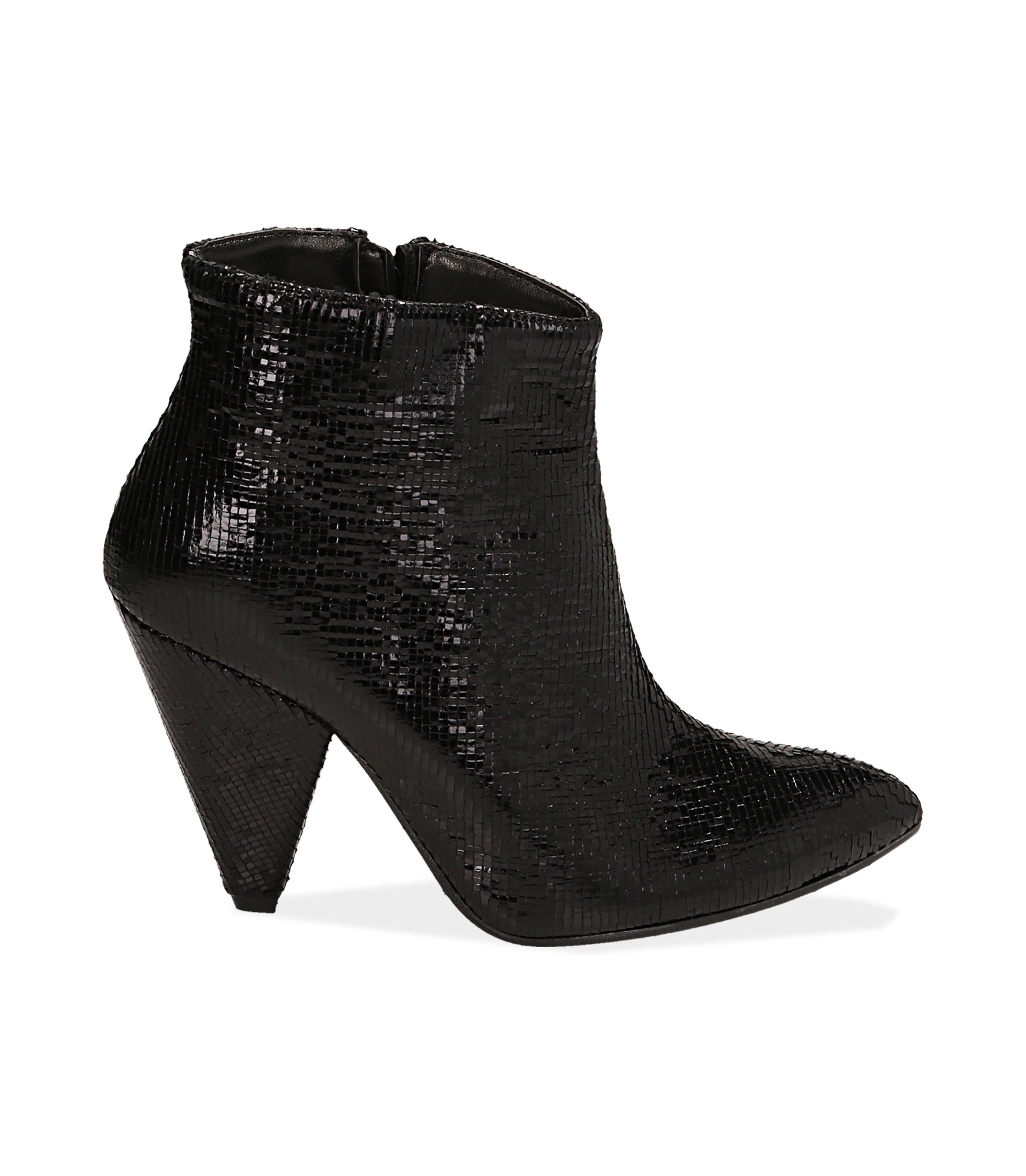 Ankle boots neri effetto pitone