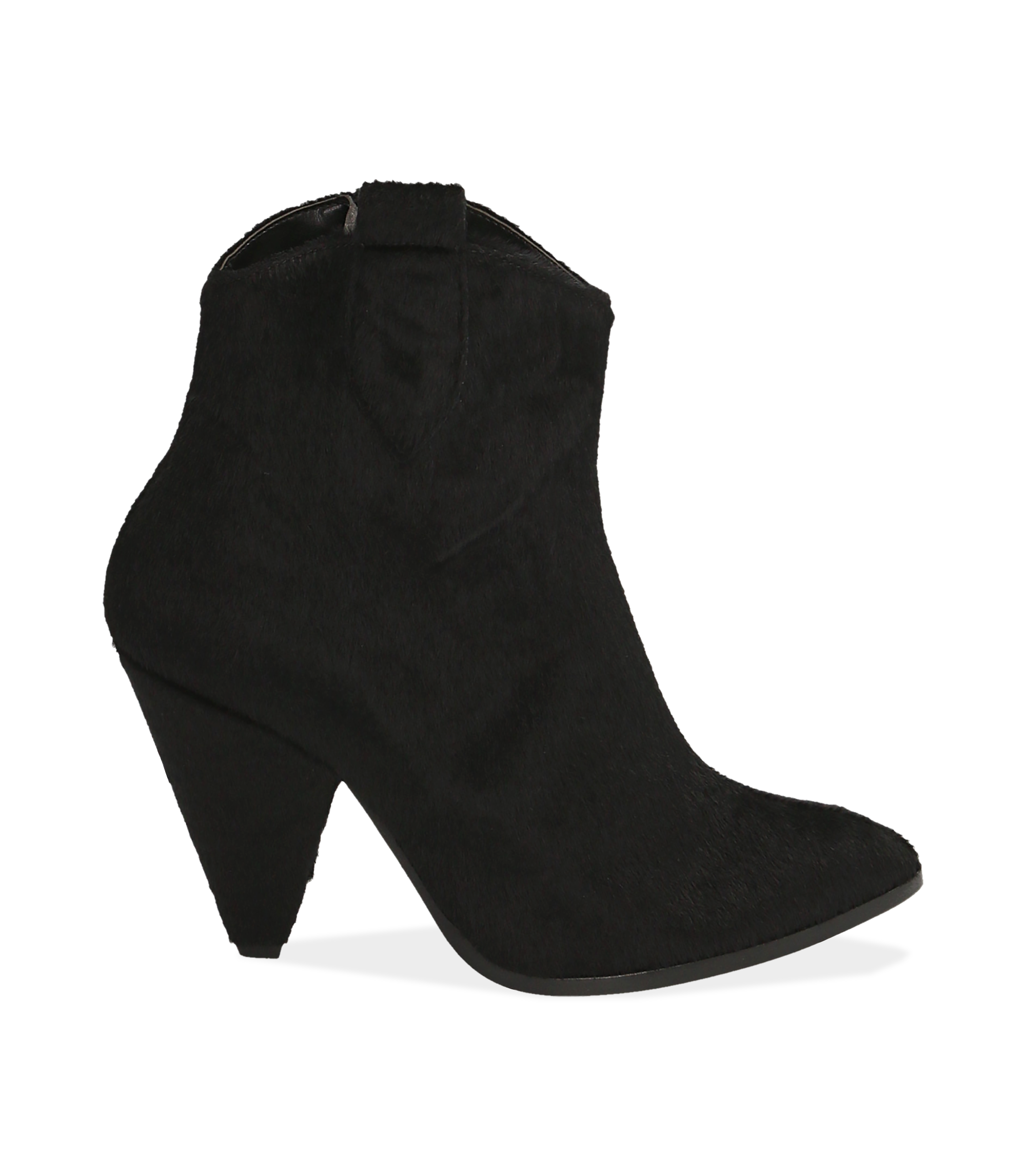 Ankle boots neri in cavallino
